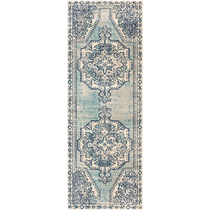 Bohemian Teal and Navy Runner: 2 Ft.11 In. x 7 Ft. 10 In. Rug