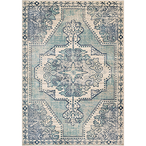 Bohemian Teal and Navy Rectangular: 5 Ft. 3 In. x 7 Ft. 6 In. Rug