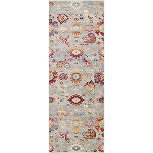 Bohemian Grey and Teal Runner: 2 Ft.11 In. x 7 Ft. 10 In. Rug