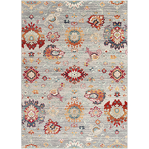 Bohemian Grey and Teal Rectangular: 9 Ft. x 13 Ft. 1 In. Rug