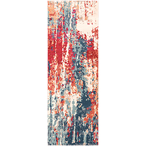 Bohemian Navy and Red Runner: 2 Ft.11 In. x 7 Ft. 10 In. Rug