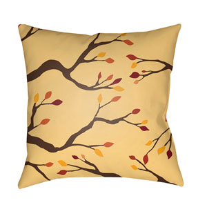 Yellow Branches 20-Inch Throw Pillow with Poly Fill