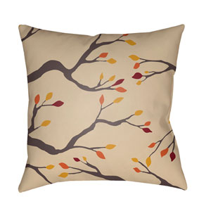 Beige Branches 18-Inch Throw Pillow with Poly Fill