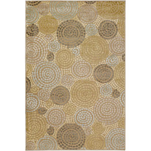 Basilica Tan and Light Blue Rectangular: 5 Ft. 2 In. x 7 Ft. 6 In. Rug