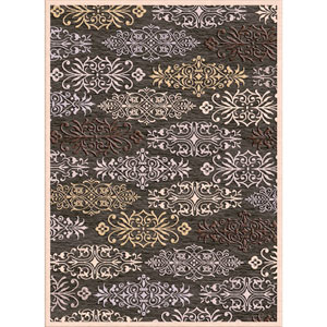Basilica Black and Taupe Rectangular: 4 Ft x 5 Ft 7 In Rug
