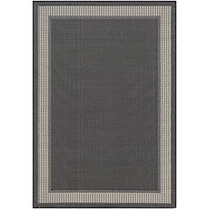 Breeze Black and Taupe Indoor/Outdoor Rectangular: 5 Ft. 3 In. x 7 Ft. 6 In. Rug