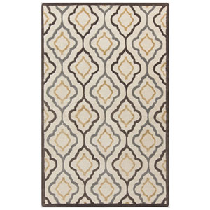 Modern Classics Ivory and Espresso Rectangular: 5 Ft. x 8 Ft. Rug