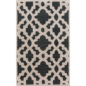Modern Classics Coal Black and Parchment Rectangular: 5 Ft. x 8 Ft. Rug