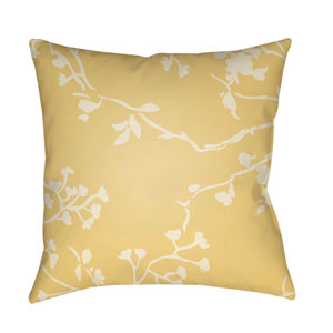 Chinoiserie Floral Cream and Bright Yellow 22 x 22-Inch Pillow
