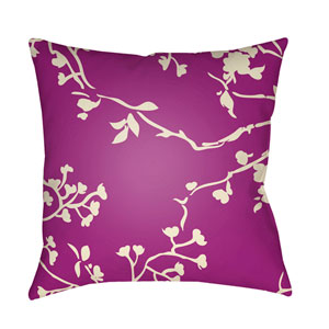 Chinoiserie Floral Cream and Bright Purple 20 x 20-Inch Pillow