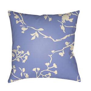 Chinoiserie Floral Cream and Bright Blue 22 x 22-Inch Pillow
