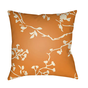 Chinoiserie Floral Cream and Bright Orange 18 x 18-Inch Pillow