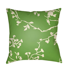 Chinoiserie Floral Cream and Grass Green 20 x 20-Inch Pillow