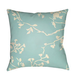 Chinoiserie Floral Aqua and Cream 22 x 22-Inch Pillow