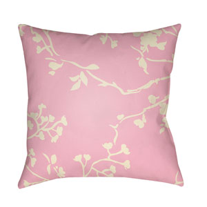 Chinoiserie Floral Cream and Pale Pink 22 x 22-Inch Pillow
