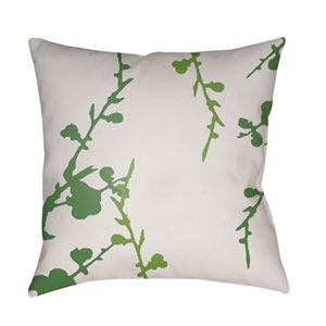 Chinoiserie Floral Grass Green and White 22 x 22-Inch Pillow