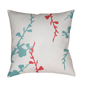 Chinoiserie Floral  Bright Pink and Aqua 22 x 22-Inch Pillow