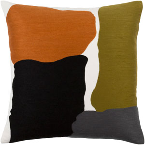 Charade Green and Orange 22-Inch Pillow Cover