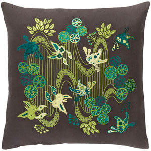 Chinese River Black and Green 20-Inch Pillow with Down Fill