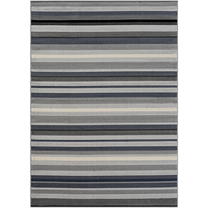 City Grey and Black Rectangular: 9 Ft. 3 In. x 12 Ft. 3 In. Rug