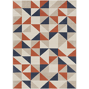 City Coral and Charcoal Rectangular: 5 Ft. 3 In. x 7 Ft. 3 In. Rug