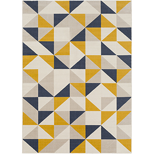 City Mustard and Charcoal Rectangular: 5 Ft. 3 In. x 7 Ft. 3 In. Rug