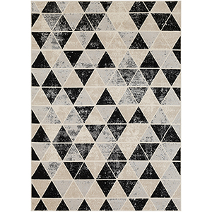 City Grey, Black and Beige Rectangular: 9 Ft. 3 In. x 12 Ft. 3 In. Rug