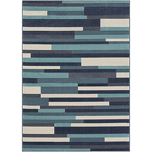 City Aqua and Charcoal Rectangular: 5 Ft. 3 In. x 7 Ft. 3 In. Rug
