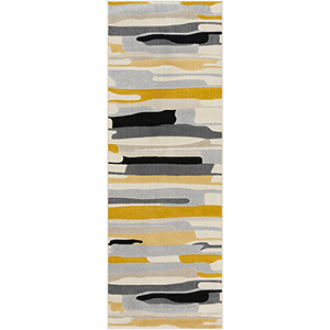 City Mustard and Grey Runner: 2 Ft. 7 In. x 7 Ft. 3 In. Rug