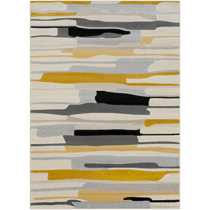 City Mustard and Grey Rectangular: 5 Ft. 3 In. x 7 Ft. 3 In. Rug