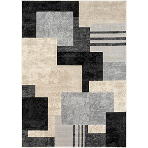 City Black, Taupe and Beige Rectangular: 5 Ft. 3 In. x 7 Ft. 3 In. Rug