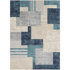 City Aqua and Beige Rectangular: 9 Ft. 3 In. x 12 Ft. 3 In. Rug