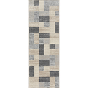 City Beige and Taupe Runner: 2 Ft. 7 In. x 7 Ft. 3 In. Rug