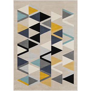 City Aqua, Mustard and Grey Rectangular: 9 Ft. 3 In. x 12 Ft. 3 In. Rug