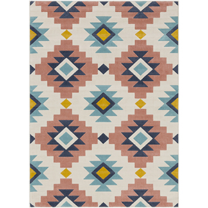City Coral and Aqua Rectangular: 7 Ft. 10 In. x 10 Ft. 3 In. Rug
