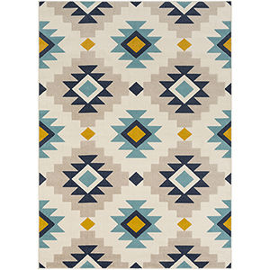 City Beige and Aqua Rectangular: 7 Ft. 10 In. x 10 Ft. 3 In. Rug