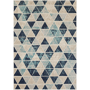 City Aqua, Beige and Charcoal Rectangular: 7 Ft. 10 In. x 10 Ft. 3 In. Rug