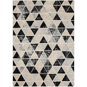 City Grey, Black and Beige Rectangular: 7 Ft. 10 In. x 10 Ft. 3 In. Rug