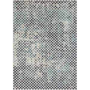 City Aqua, Charcoal and Beige Rectangular: 7 Ft. 10 In. x 10 Ft. 3 In. Rug