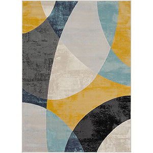 City Aqua, Grey and Mustard Rectangular: 7 Ft. 10 In. x 10 Ft. 3 In. Rug