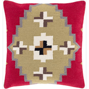 Taken with Tribal Cherry and Olive 22-Inch Pillow with Down Fill