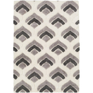 Cut and Loop Shag Cream and Gray Rectangle: 5 Ft. 3 In. x 7 Ft. 3 In. Rug
