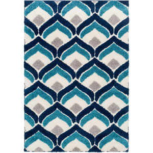 Cut and Loop Shag Blue Rectangle: 5 Ft. 3 In. x 7 Ft. 3 In. Rug