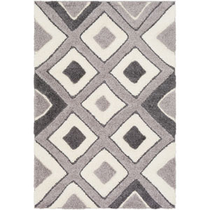 Cut and Loop Shag Gray and Cream Rectangle: 5 Ft. 3 In. x 7 Ft. 3 In. Rug