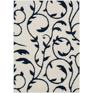 Cut and Loop Shag Cream and Navy Rectangle: 5 Ft. 3 In. x 7 Ft. 3 In. Rug