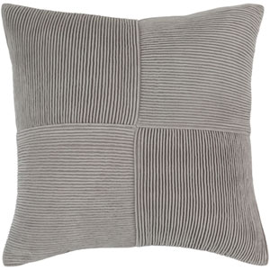 Conrad Gray 18-Inch Pillow with Poly Fill