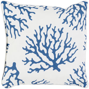 Coral Blue and Neutral 16 x 16-Inch Pillow