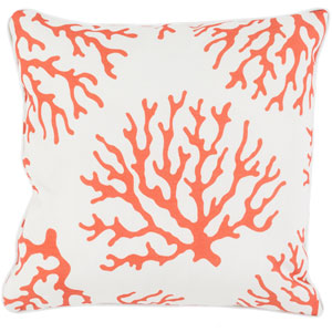 Coral Orange and Neutral 16 x 16-Inch Pillow