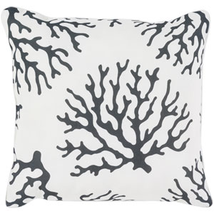 Coral Black and White 20 x 20-Inch Throw Pillow