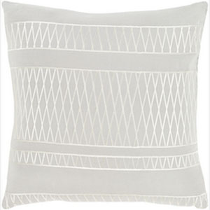 Cora Light Gray and Beige 20-Inch Pillow with Poly Fill